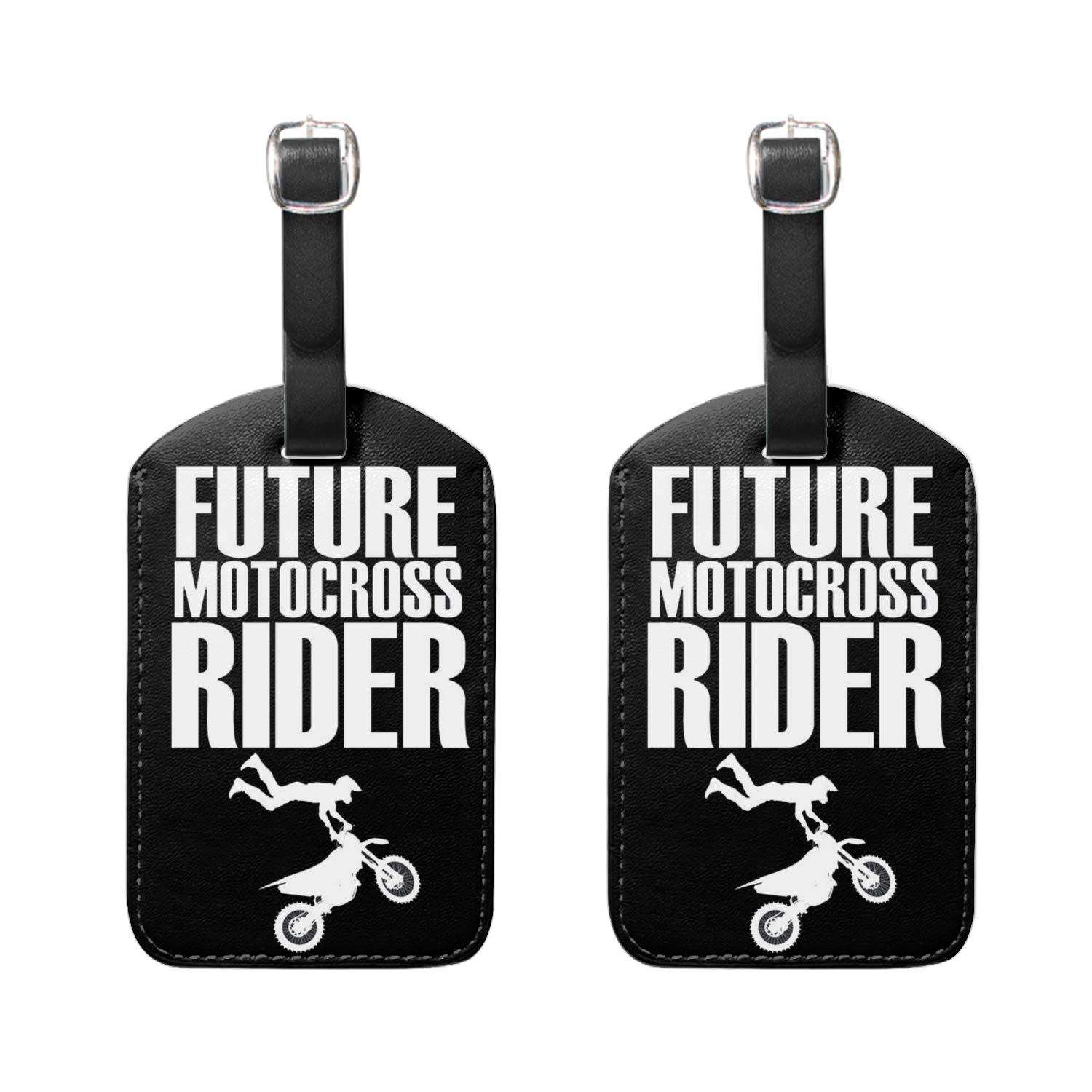Luggage Tags 2 Pieces Set,Got Motocross Racing PU Leather Travel Bag Tags for Cruise Ships,for Men and Women