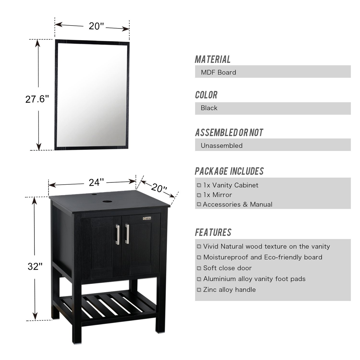 Eclife 24\'\' Modern Bathroom Vessel Sink and Vanity Combo Square ...
