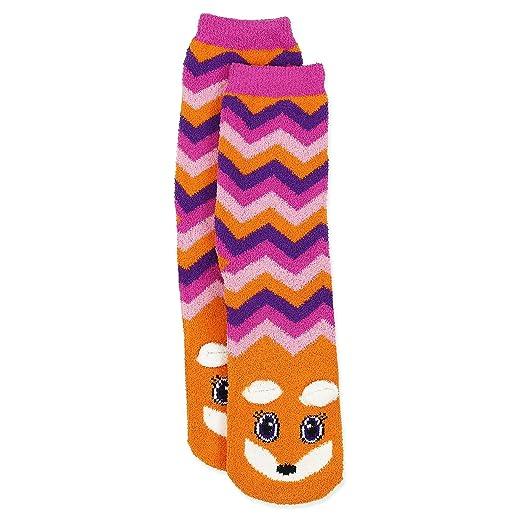 0f31225138cf Girls Cozy Critter Slipper Socks Unicorn Cat Zebra Fox (6-8 Girls (Shoe