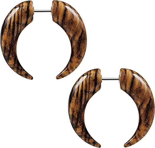 1 Pair Fake Plugs with Star Fakes Plugs Studs Earrings Fakepiercing Print