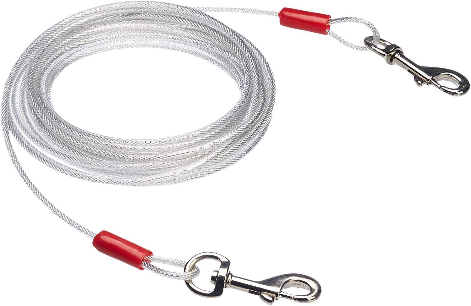 Amazon Basics 2590, Cable para Atar Perros (Hasta 40kg, 7,62m), Blanco