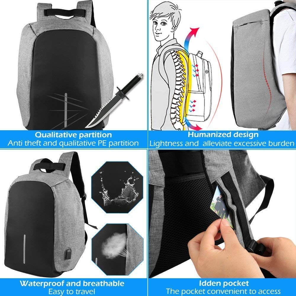 GadgetBucket Most Popular Anti Theft Backpack Waterproof Business Laptop Bag  with USB Charging Port for 14 Inch Laptop 91f877e232a7b