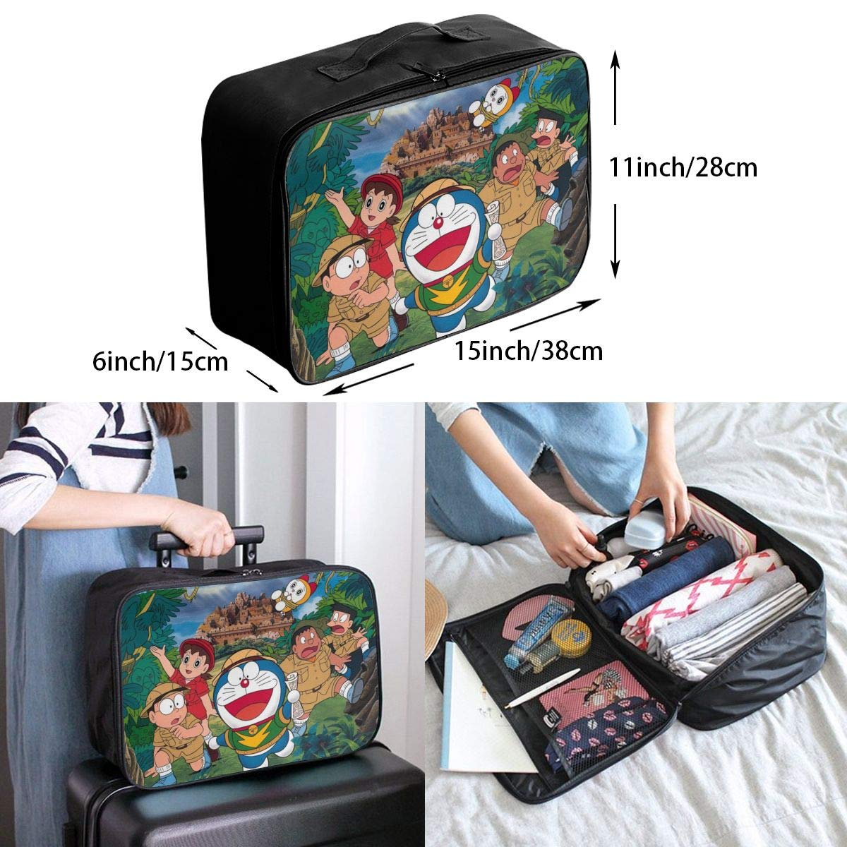 Anime Blue Robot Dingdang Cat Customize Casual Portable Travel Bag Suitcase Storage Bag Luggage Packing Tote Bag Trolley Bag