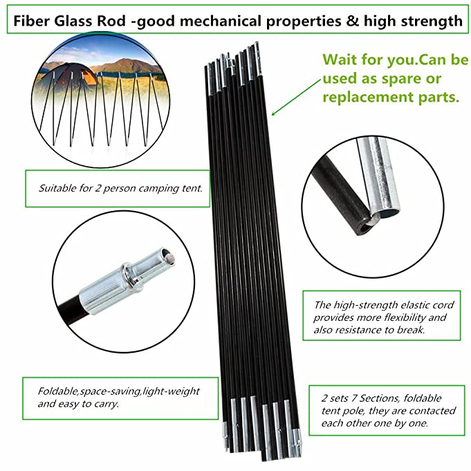 Amazon.com  Outdoor C&ing Tent Pole Kit Fibreglass Rod DoubleTent Pole Support Frames Kit Tent Replacement Kit Accessories For C&ing Hiking 2 Sets 7 ...  sc 1 st  Amazon.com : flexible tent poles replacement - memphite.com