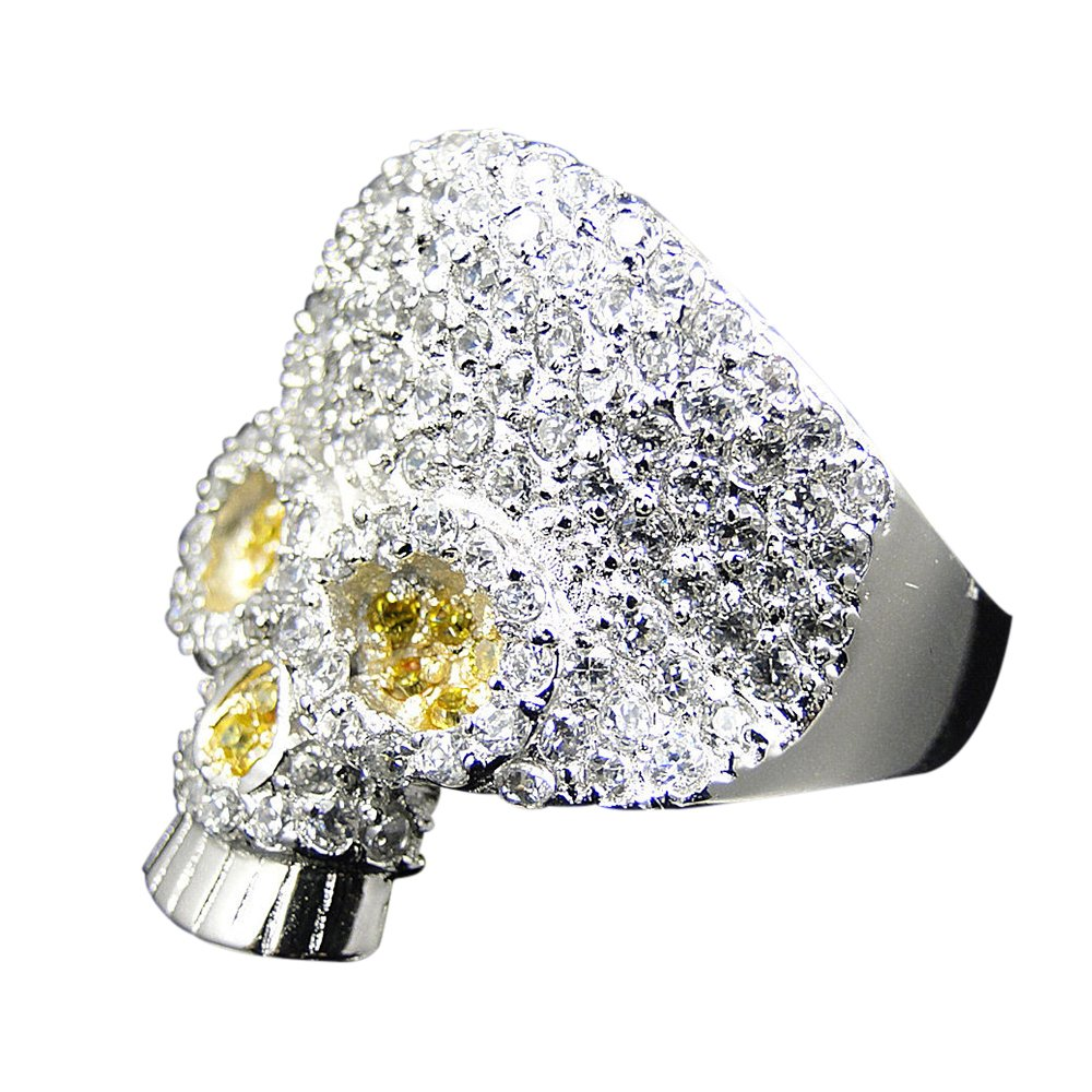 TVS-JEWELS White & Yellow Simulated Diamond 925 Silver Platinum Plated Skull Design Daily Use Ring RG28003