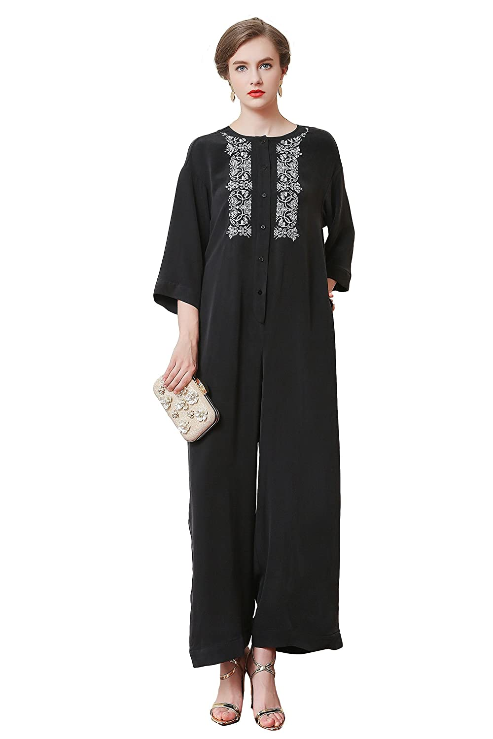 05283f0ad0b927 low-cost VOA Women s Black Silk Scoop Neck Long Sleeve Embroidery Jumpsuit  K7123