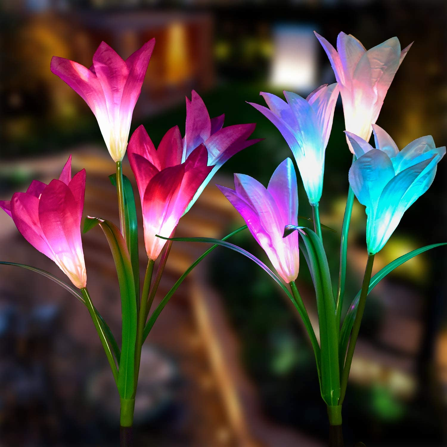 Doingart Solar Lights Outdoor - New Upgraded Solar Garden Lights, Multi-Color Changing Lily Solar Flower Lights for Patio,Yard Decoration, Bigger Flower and Wider Solar Panel (2 Pack,Purple and White)