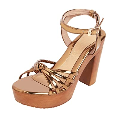 f2997a8b3 Catwalk Women s Bronze Block Heel Sandals Fashion  Buy Online at Low ...