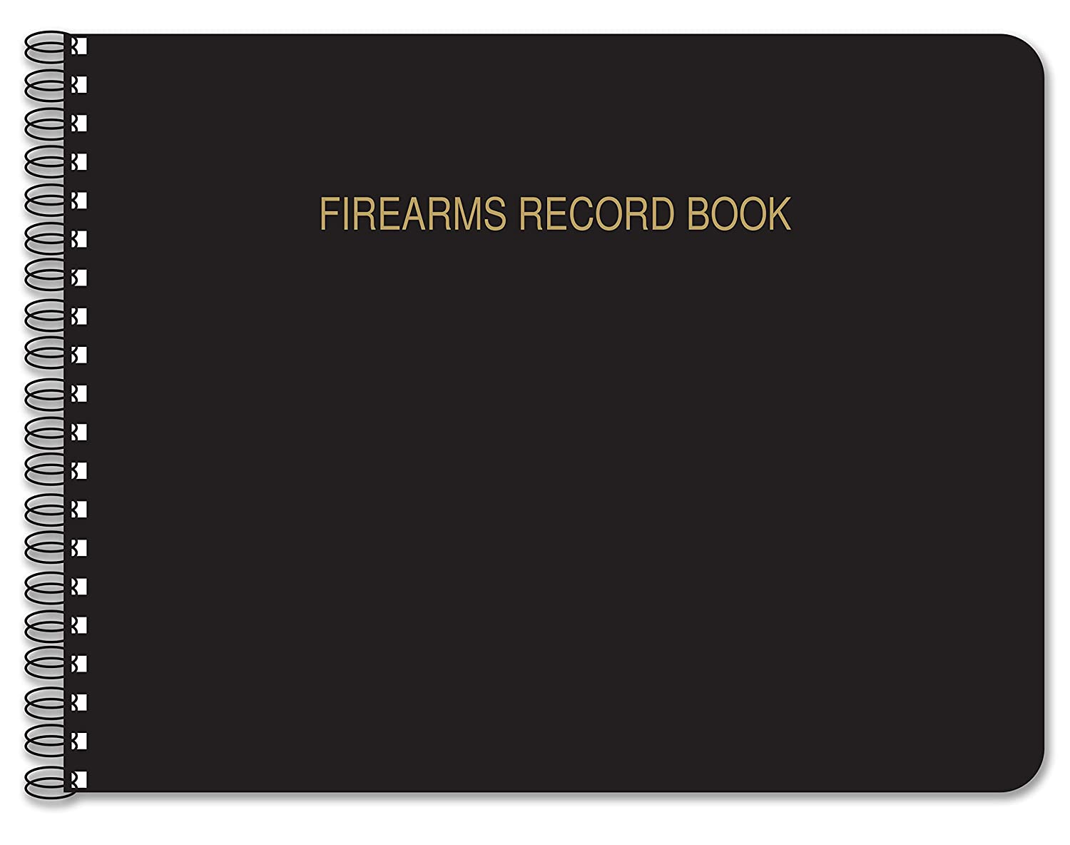 "BookFactory Firearms Record Book/Gun Log Book - 100 Pages, Black TransLux Cover - Wire-O, 11"" x 8 1/2"" (LOG-100-GUN-W01-FRB-T52)"