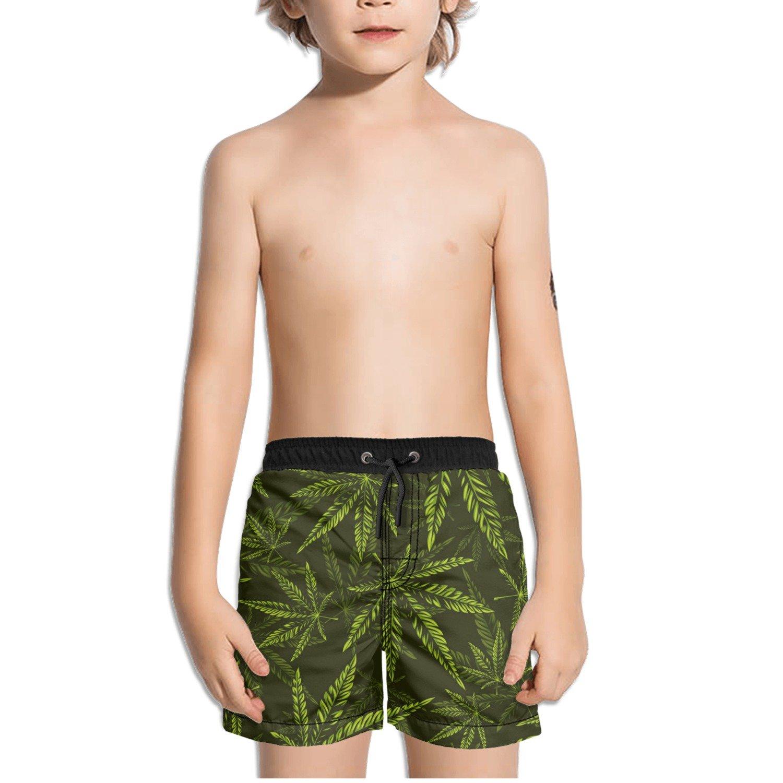 Ouxioaz Boys Swim Trunk Seamless Cannabis Pattern Beach Board Shorts