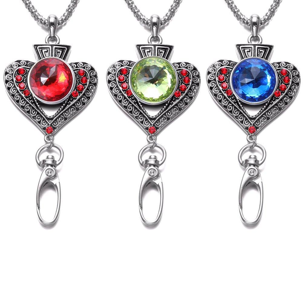 Soleebee 87cm Cha/îne en argent interchangeable ID Badge Lanyard Collier avec 9 pcs Bouton Pression en verre de cristal Fleur de coeur damour