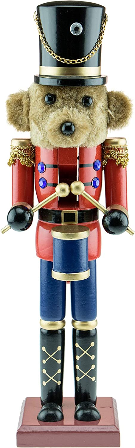 "Clever Creations Traditional Wooden Collectible Teddy Bear Drummer Christmas Nutcracker | Festive Christmas Decor | 100% Wood | 15"" Tall Perfect for Shelves and Tables"