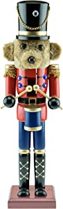 """Clever Creations Traditional Wooden Collectible Teddy Bear Drummer Christmas Nutcracker   Festive Christmas Decor   100% Wood   15"""" Tall Perfect for Shelves and Tables"""