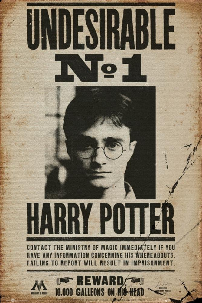 Movie Poster Wanted Undesirable No. 1 Harry Potter Size 24 x 36