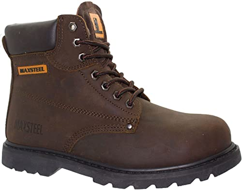 Mens Steel Toe Cap Work Boots Ankle Protector Leather Safety Shoes