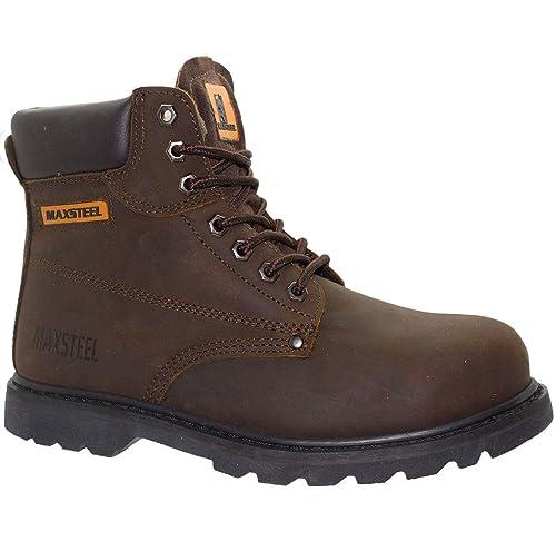 MAXSTEEL Arbeit Safety Shoes Herren Leder Schuhe Stiefel MIT Stahlkappe Sneaker  Stiefel, Braun - braun 67264eb56b