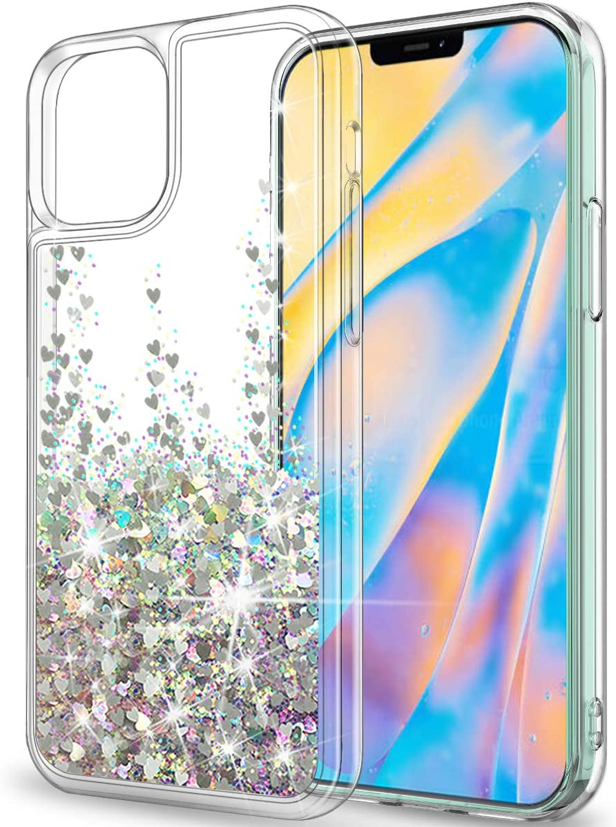 """SunRemex Compatible with iPhone 12 Pro Max Case Glitter Clear [Only Fit 6.7""""], iPhone 12 Pro Max 5G Case Crystal with Moving Shiny Quicksand for iPhone 12 Pro Max 5G (6.7 inch)(Silver)"""