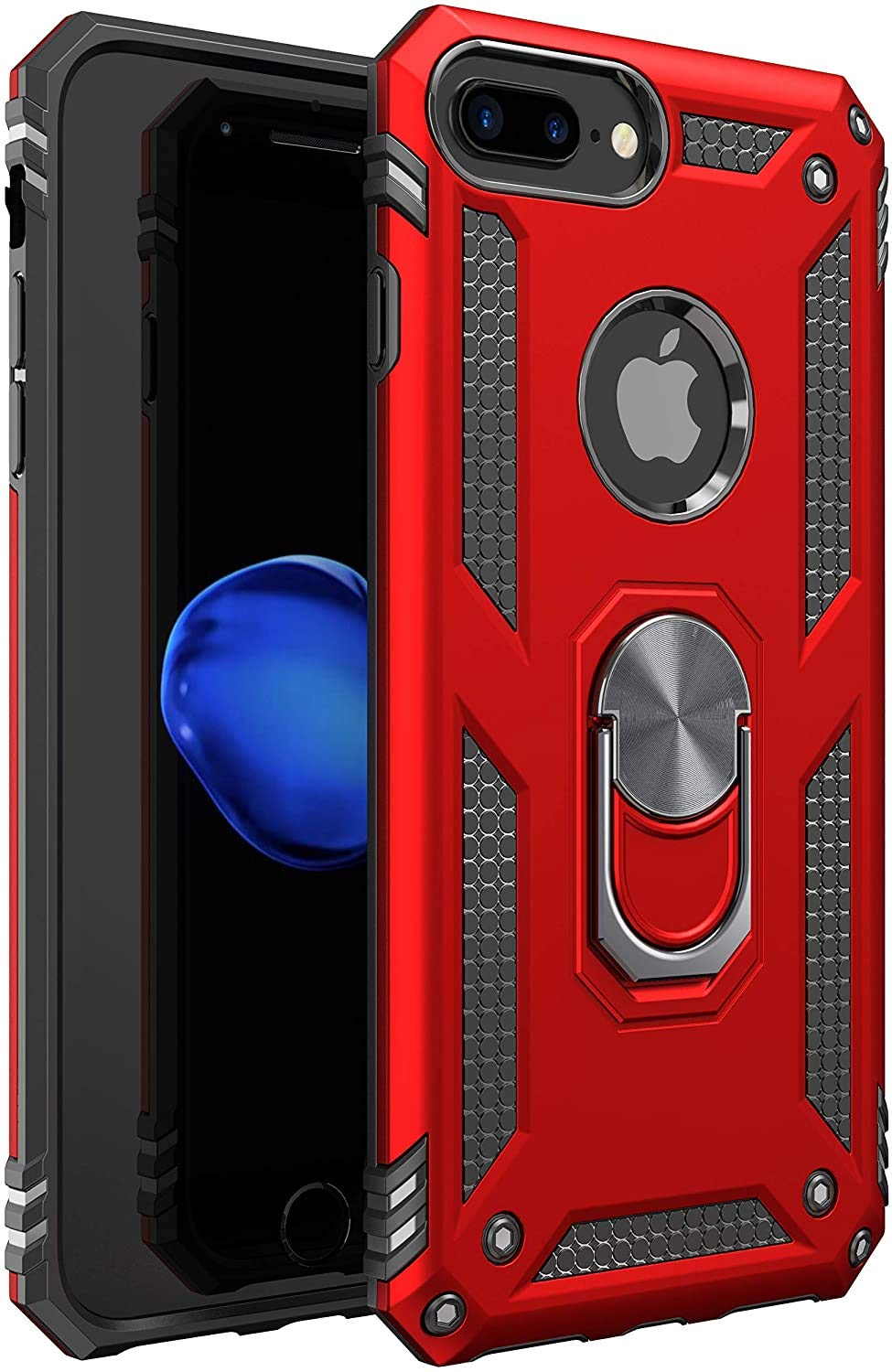 Amuoc Compatible with iPhone 7 Plus Case , 8 Plus Case [ Military Grade ] 15ft Drop Tested Protective Kickstand Case- Red