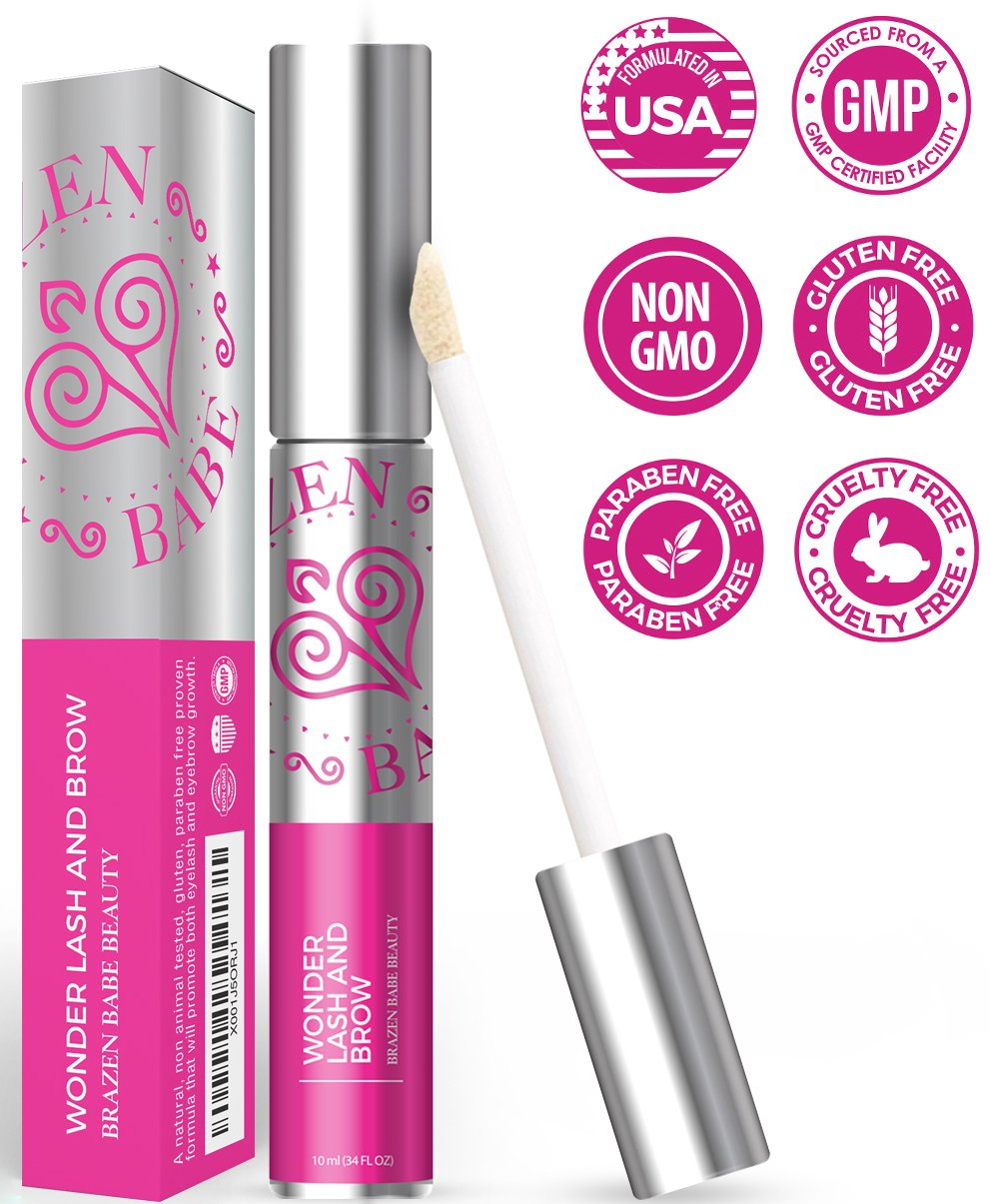 Powerful Clinically Proven Rapid Eyelash Serum Formula | Wonder Lash & Brow Quickly Grows Your Own Lush, Long, Robust Lashes & Eyebrows, Guaranteed, w/Apple Stem Cells, Coconut Castor Oil & Pro Vit E