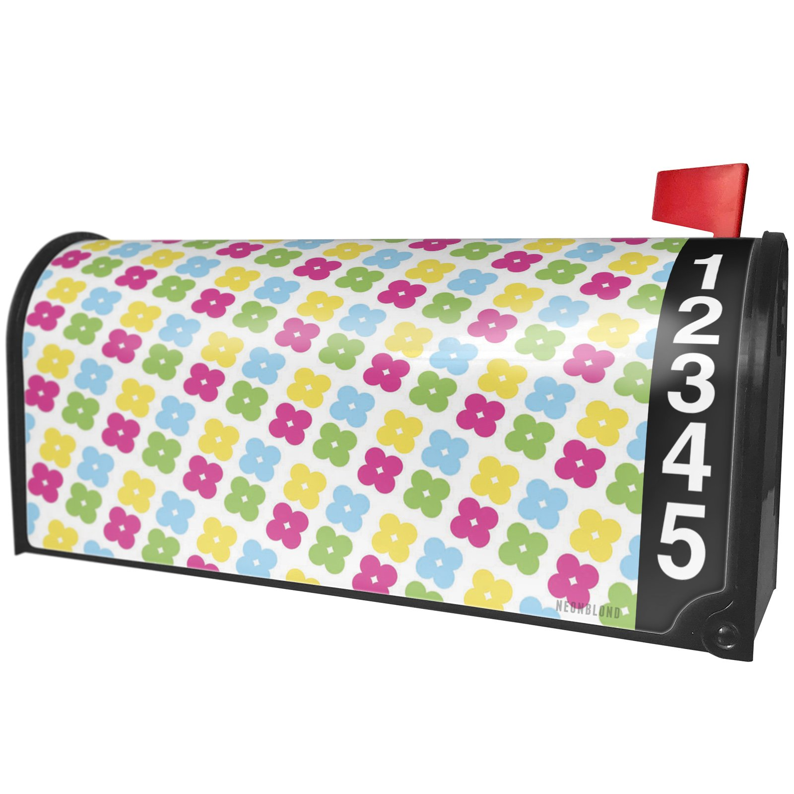 NEONBLOND Pattern Flower Power Pink Magnetic Mailbox Cover Custom Numbers