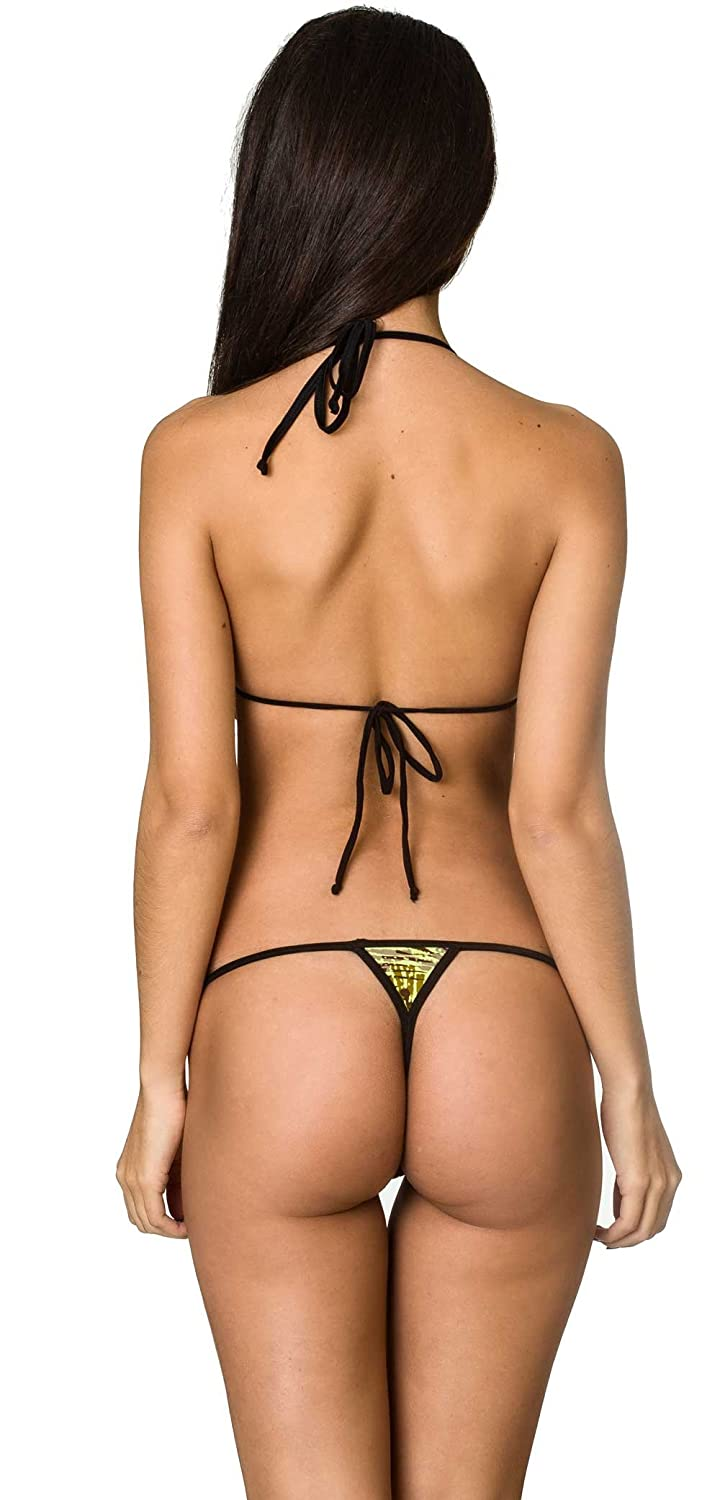 4cf5aa16a2e44 Amazon.com  THE MESH KING COQUETA Swimwear Brazilian Teeny Micro Thong Mini  Bikini Swimsuit G String Bamboo  Clothing