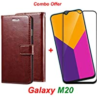 Goelectro Samsung Galaxy M20 / Galaxy M20 (Combo Offer) Leather Dairy Flip Case Stand with Magnetic Closure & Card Holder Cover + 2.5D Curved Tempered Glass Screen Protector (Brown)