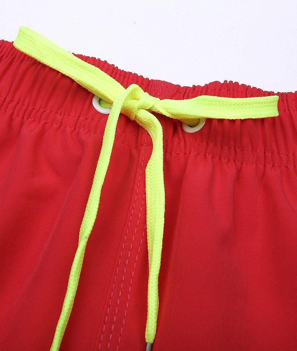 QRANSS Mens Swim Trunks Bathing Suit Shorts with Elastic Waist Zipper Pocket