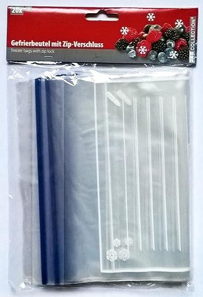 20 Bolsas de congelación con cierre zip de 23 x 18 cm ...