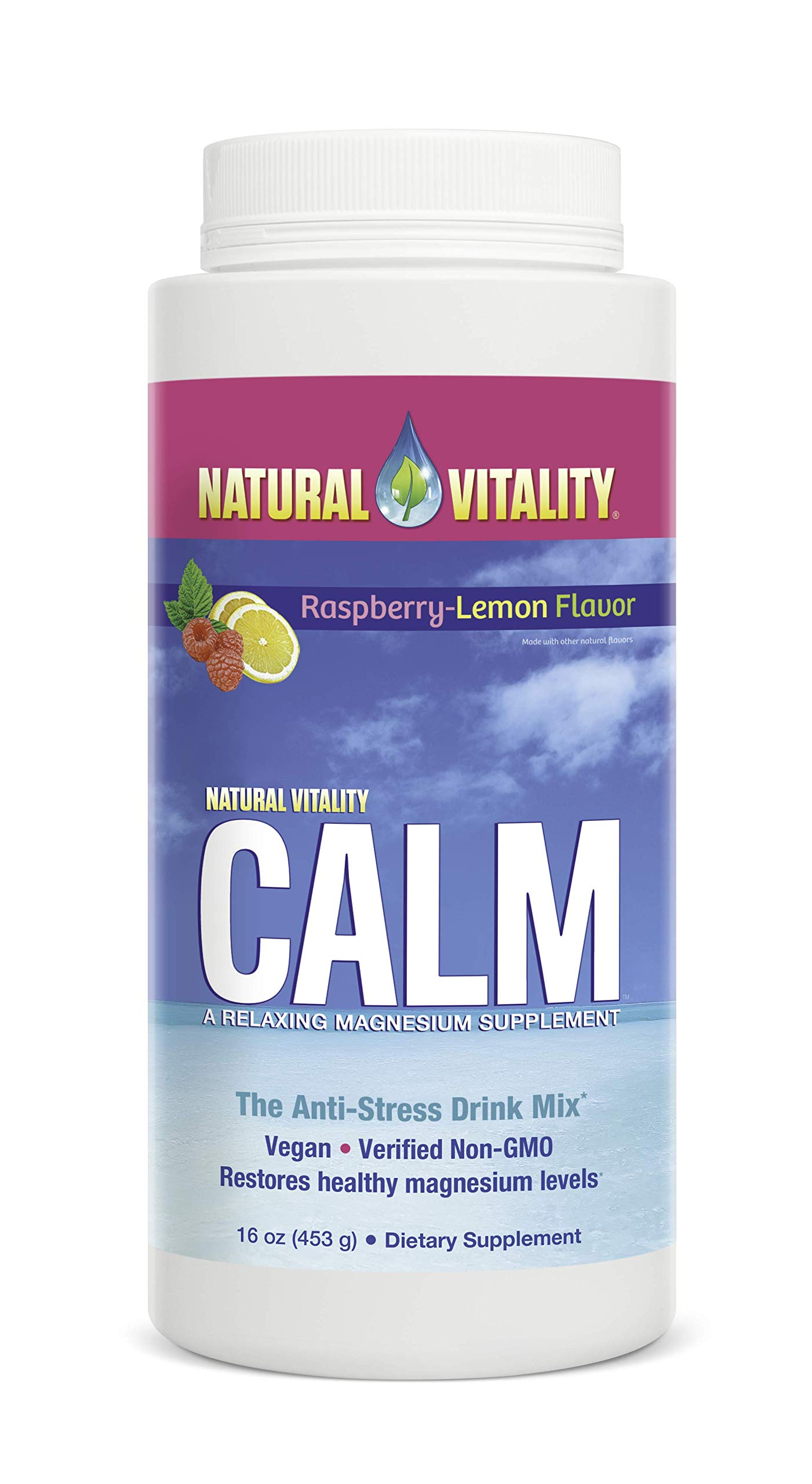 Natural Vitality Calm, The Anti-Stress Drink Mix, Magnesium Supplement Powder, Raspberry Lemon - 16 ounce by Natural Vitality