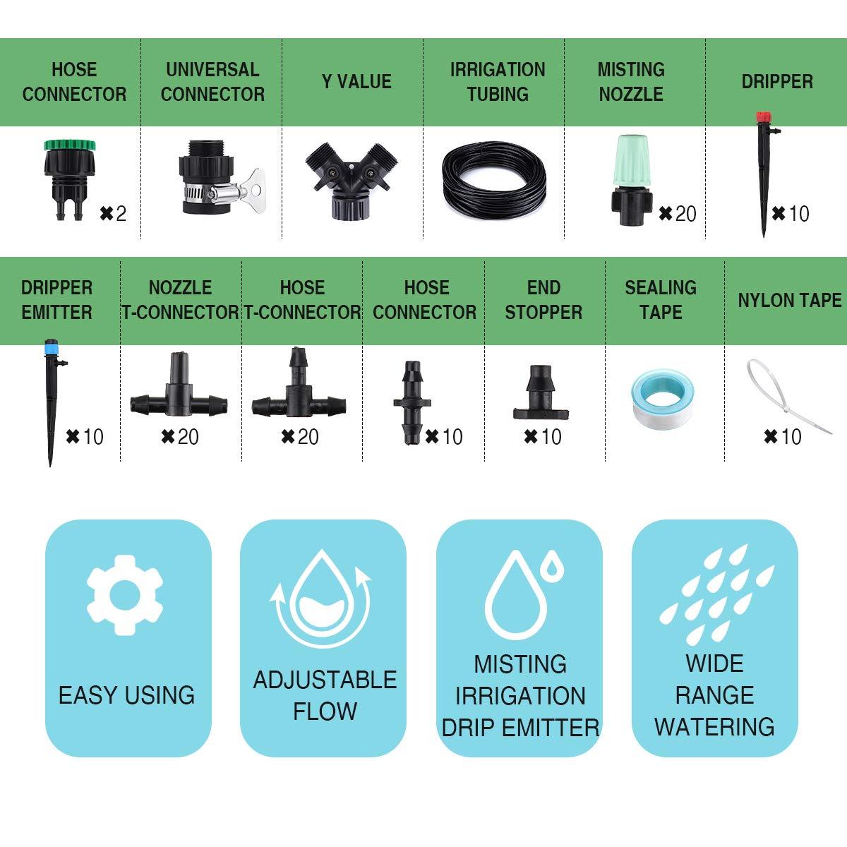 Kit per Irrigazione Regolabile per Giardino Serra king do way 25M Sistema di Irrigazione a Goccia Automatica con Valvola Y 20 Ugelli atomizzatori 10 Gocciolatore di Fontana 10 Gocciolatori