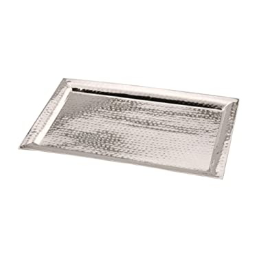 James Scott Stainless Steel Hammered Rectangular, Serving Tray Gift for Home (11 by 16 Inch)