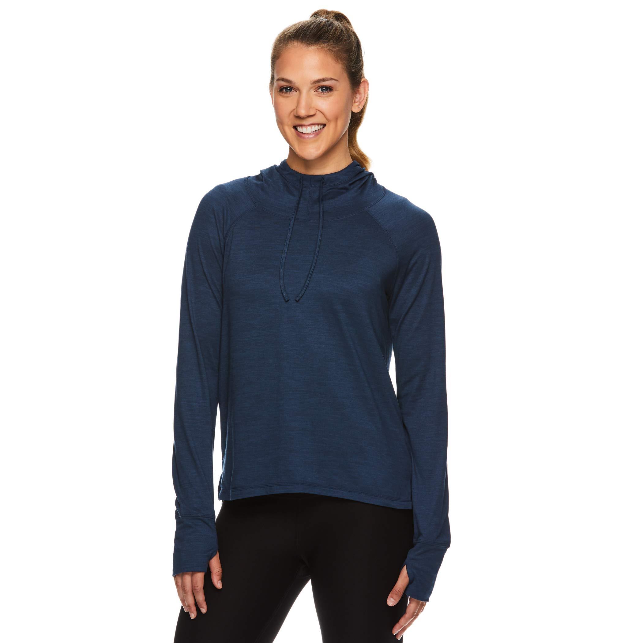 Gaiam Women's Pullover Hoodie Yoga Sweatshirt - Lightweight Long Sleeve Athleisure Sweater - Maya Moonlit Ocean Blue Heather, X-Large by Gaiam