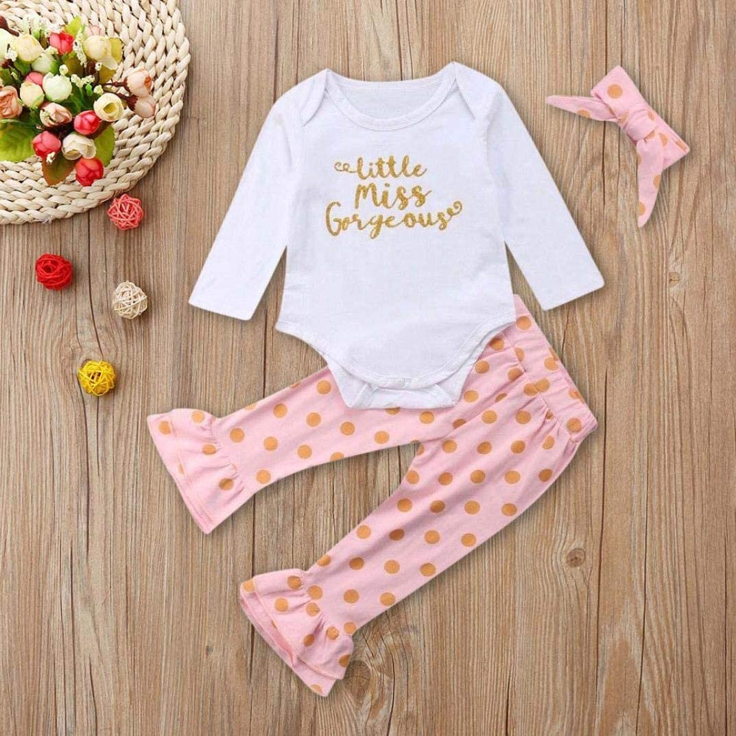 Baby Kid Outfits,Fineser 3Pcs Cute Newborn Infant Baby Girl Letter Romper Tops+Dot Pants+Headband Clothes Outfits Set