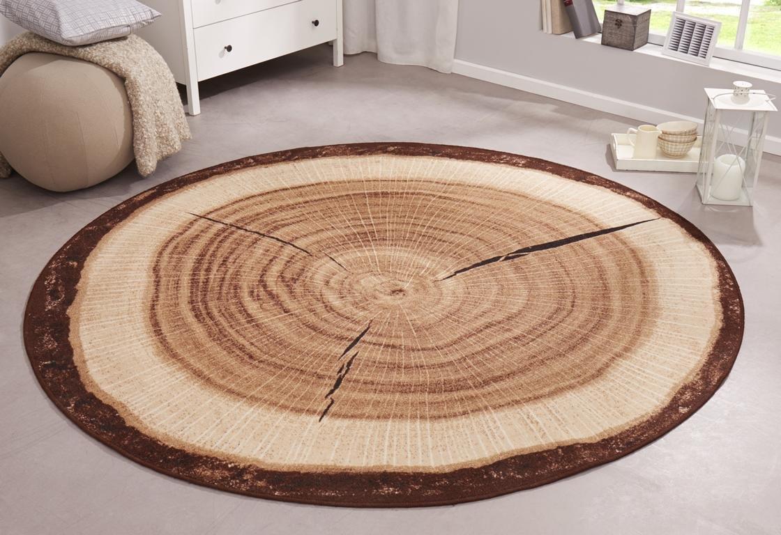 Teppich rund beige  Amazon.de: Hanse Home 101175 Teppich Baumstamm, rund, 133 cm