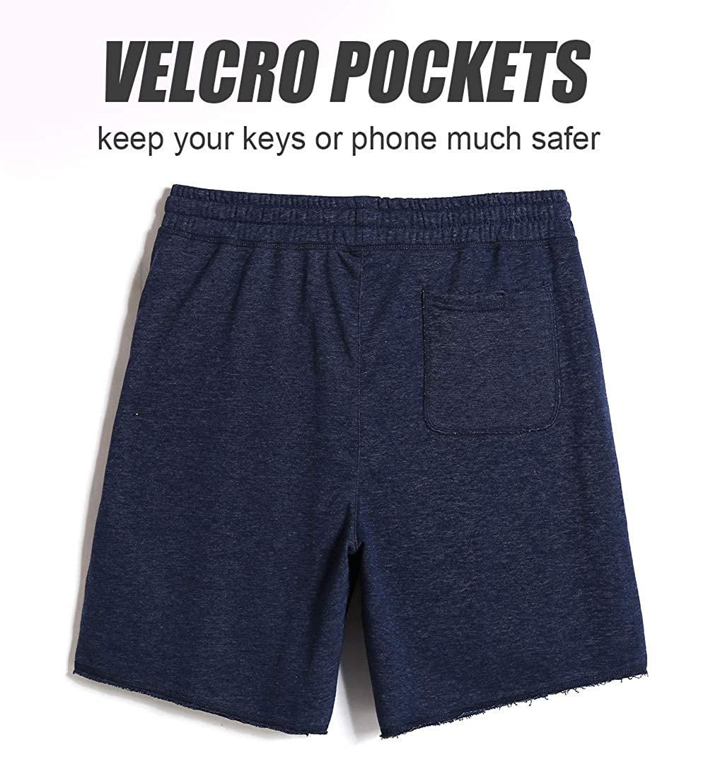 CALOLEYNG Mens Cotton 8 Casual Lounge Fleece Shorts Pockets Jogger Athletic Gym Sweat Shorts