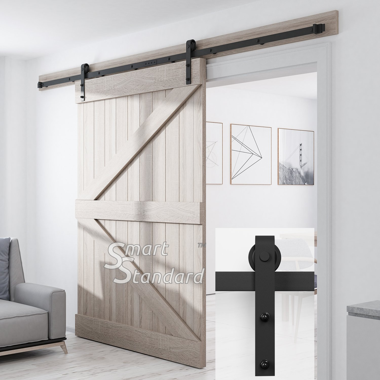 SMARTSTANDARD SDH1000JSHAPE01BK Heavy Duty Sturdy Sliding Barn Door Hardware Kit, 10' DoubleRail,Super Smoothly and Quietly, Simple and Easy to Install, Fit 60'' Wide DoorPanel by SMARTSTANDARD (Image #1)