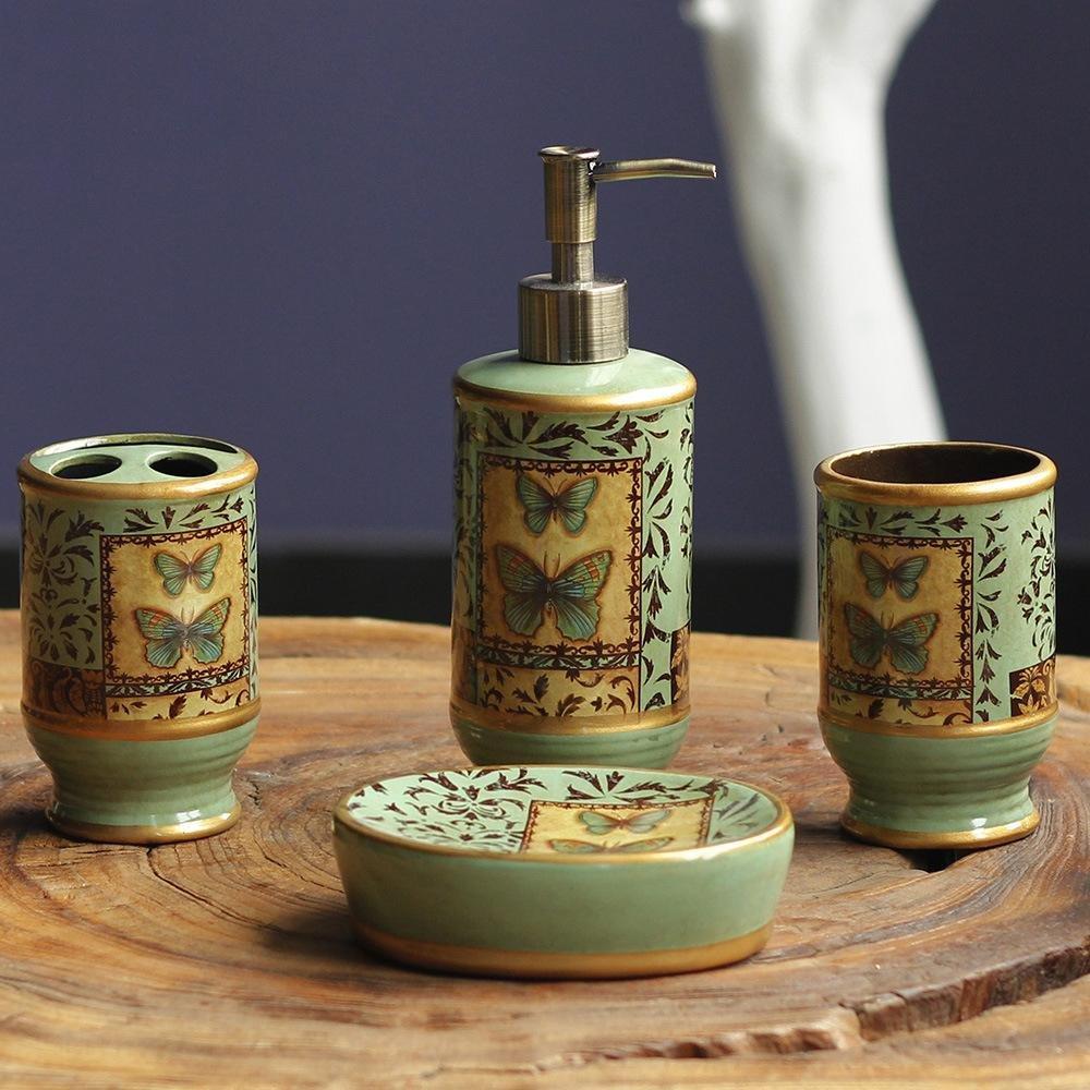 AIURLIFE Design moderno di lusso 4 pezzi in ceramica Set accessori da bagno. Portasapone. supporto spazzolino da denti. sapone Dispenser. Tumbler