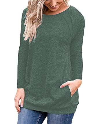 3828c15cceac Halife Long Shirts for Women with Pocket Slim Fitted Casual Tunic Blouse  Tops Green S