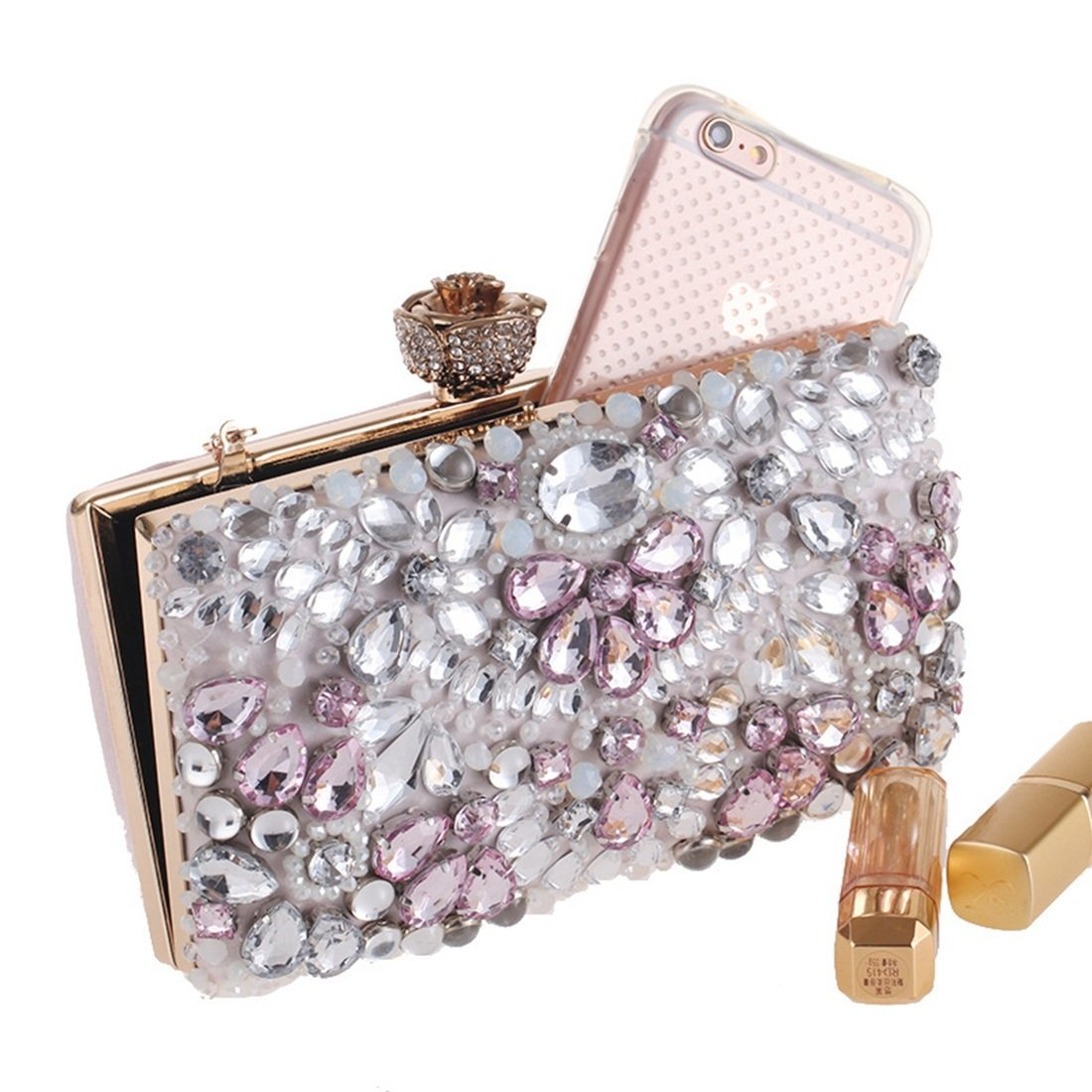Color : Pink QARYYQ New Diamond-Studded Embroidered Bag European and American Clutch Bag Wild Evening Bag Evening Bag Evening Package