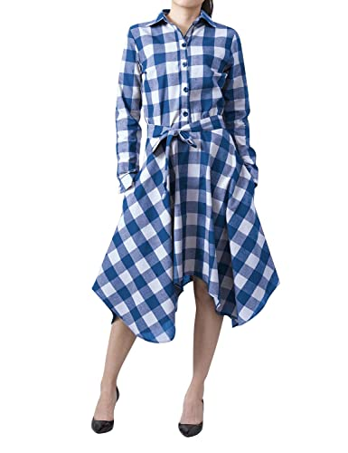 Yidarton Mujer Camisa Larga Cuadros con Botón Tapas Blusa Manga Larga Camiseta Vestido