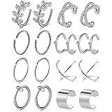 6 Pairs Ear Cuff Mixed Style Non-Piercing Earrings Hoop Women Unisex Black