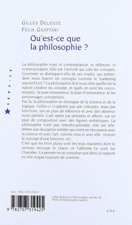 Qu Est Ce Que La Philosophie Amazon Fr Gilles Deleuze Felix