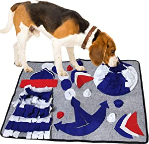 SenYoung Dog Snuffle Mat, Puzzle Dog Feeding Snuffle Mat for Smell Training Nose Work Blanket and Stress Release, Home Durable Dog Food Bowl Mat,Interactive Dog Toys, Reusable Washable (Gray)