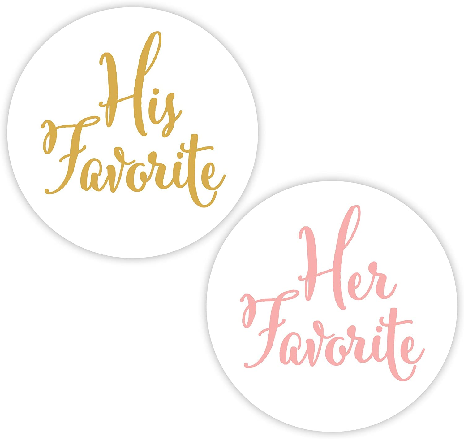 His Favorite & Her Favorite Wedding Stickers, Choose Your Colors, Wedding  Favor Stickers (#10-GLBL)
