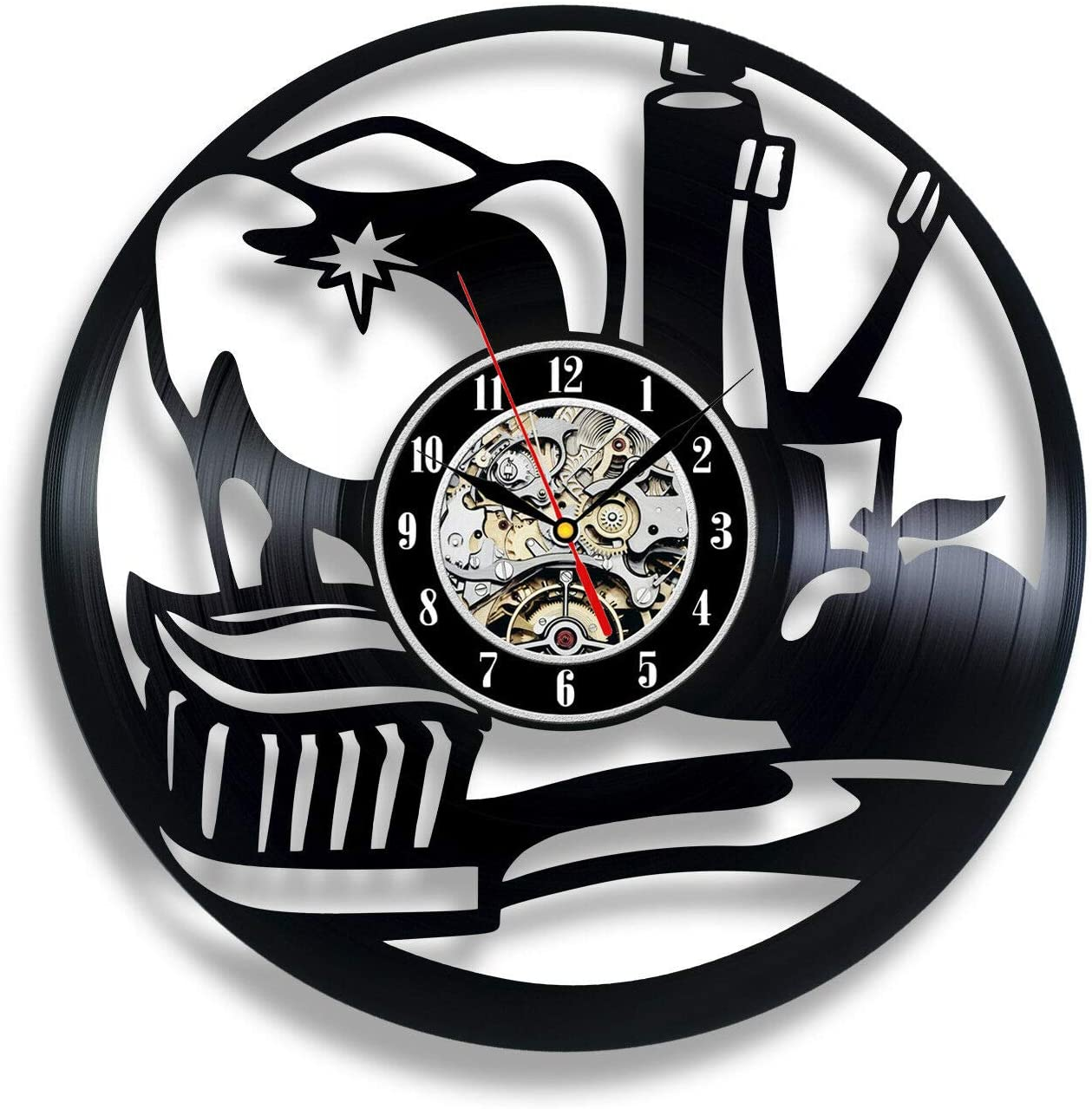 Dental Clinic Wall Clock Stomatology Dentist 12 in(30cm) Black Decor Modern Decorative Vinyl Record Wall Clock This Clock is A Unique Gift to Your Friends and Family