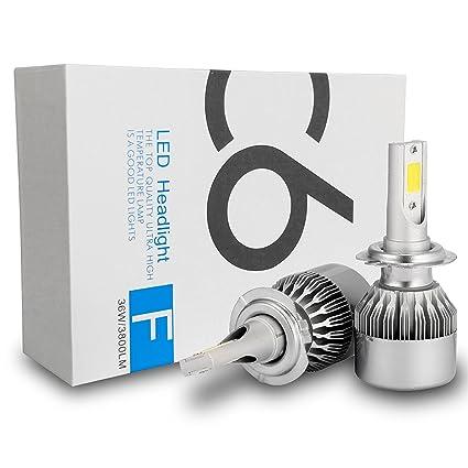 C6 - Bombillas LED halógenas, muy brillantes, H7, 72 W, 7600 lúmenes