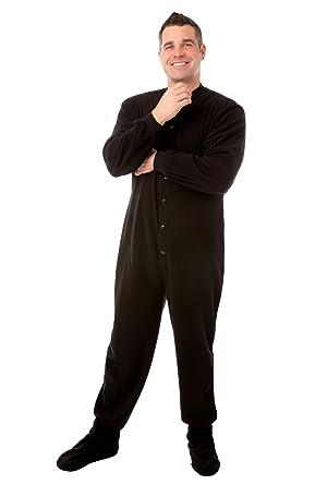 9e73fc31637c Black Micro Polar Fleece Adult Footed Pajamas with Drop Seat Onesie ...