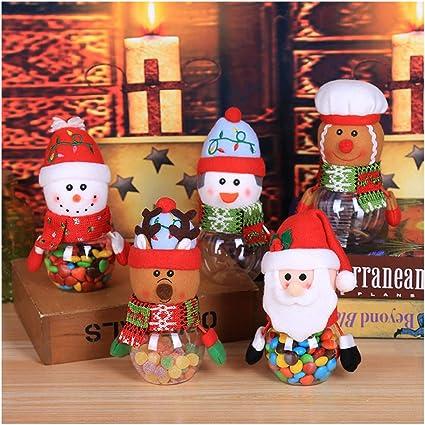 NUOBESTY 3 Piezas frascos de Dulces de Navidad Cajas de Favor de Navidad con mu/ñecos de Renos de mu/ñeco de Nieve de Santa Claus contenedores de Almacenamiento de Alimentos de Navidad