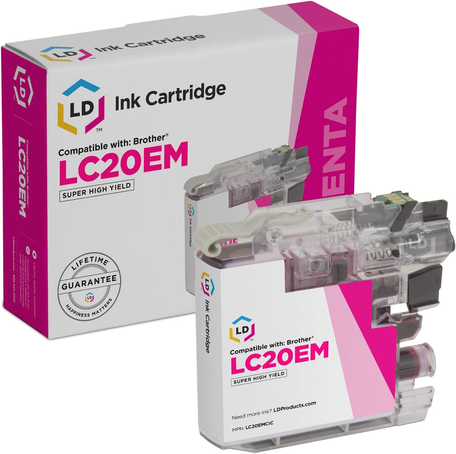 LD Compatible Ink Cartridge Replacement for Brother LC20EY Super High Yield Yellow
