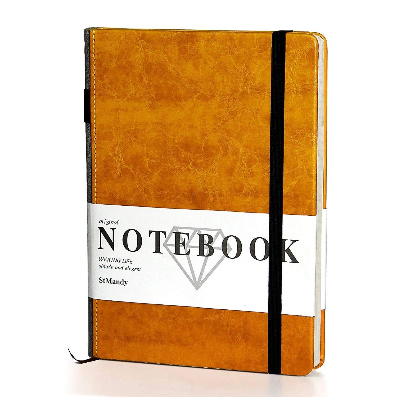 Marrone Notebook Classico Spessa A5 Notebook Rigato Con Copertina Rigida e Ampia Con Tasca Puntinato 120 g//m/² Divisori Per Pagine Copertina Rigida//Fine PU Carta di Qualit/à